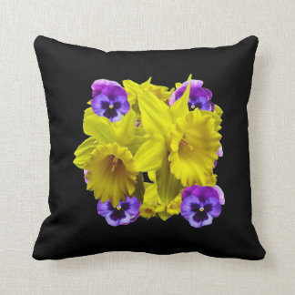 YELLOW SPRING DAFFODILS & LILAC PANSIES BLACK COL CUSHION