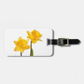 Yellow Spring Daffodils on White Luggage Tag