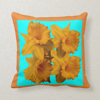 YELLOW SPRING DAFFODILS & TURQUOISE BLUE ART CUSHION