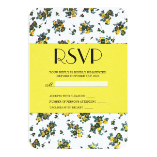 Yellow Spring Flowers on White and Yellow Paper 9 Cm X 13 Cm Invitation Card