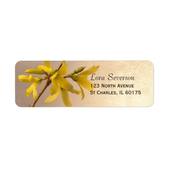 Yellow Spring Forsythia Flowers Return Address Return Address Label