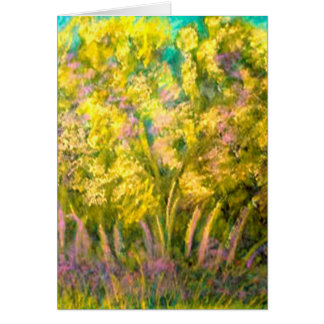 Yellow Spring Trees Design Greeting Card