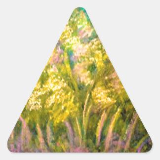 Yellow Spring Trees Design Triangle Sticker