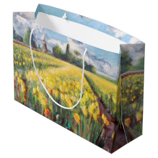 Yellow Spring Tulips Flowers Impressionism Art Large Gift Bag