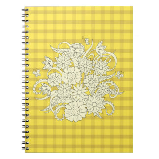 yellow square pattern with to summer bouquet note book