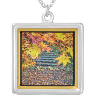Yellow Square Photo Fall Template Autumn Leaves Jewelry
