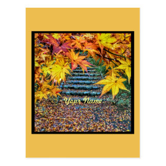 Yellow Square Photo Fall Template Autumn Leaves Postcard