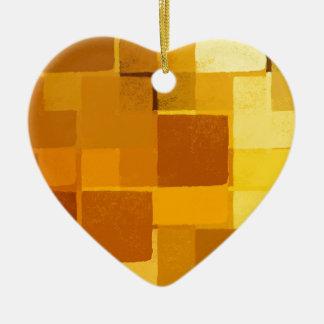 yellow squares pattern ceramic heart decoration