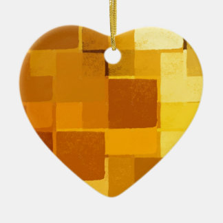 yellow squares pattern christmas ornament