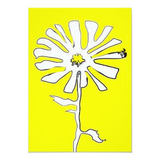 yellow squiggle flower 13 cm x 18 cm invitation card