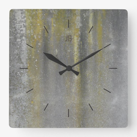 YELLOW STAINED METAL | industrial decor Wall Clock