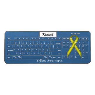 Yellow Standard Ribbon by Kenneth Yoncich Wireless Keyboard