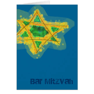 Yellow Star Bar Mitzvah Card