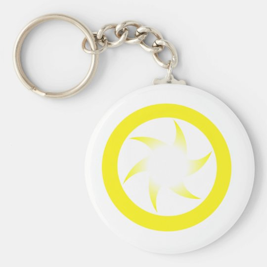 Yellow Star Basic Round Button Key Ring