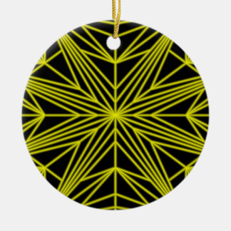 Yellow Star Double-Sided Ceramic Round Christmas Ornament