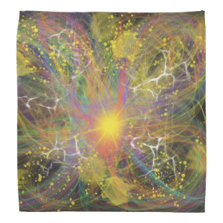 Yellow Star Explosion Abstract Art Painting Design Bandana