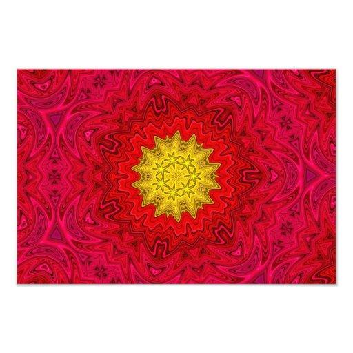Yellow Star on Red Mandala Art Photo