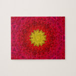 Yellow Star on Red Mandala Jigsaw Puzzles