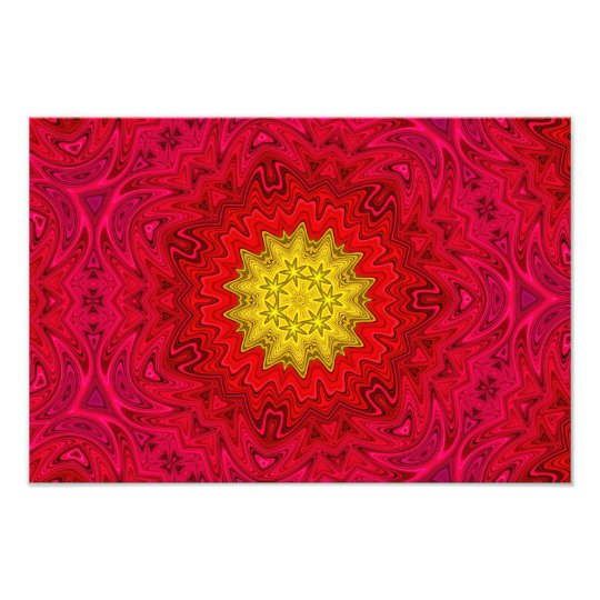 Yellow Star on Red Mandala Photo Print