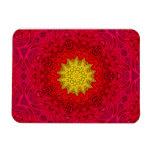 Yellow Star on Red Mandala Rectangle Magnet