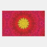 Yellow Star on Red Mandala Rectangular Sticker