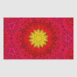 Yellow Star on Red Mandala Rectangular Stickers