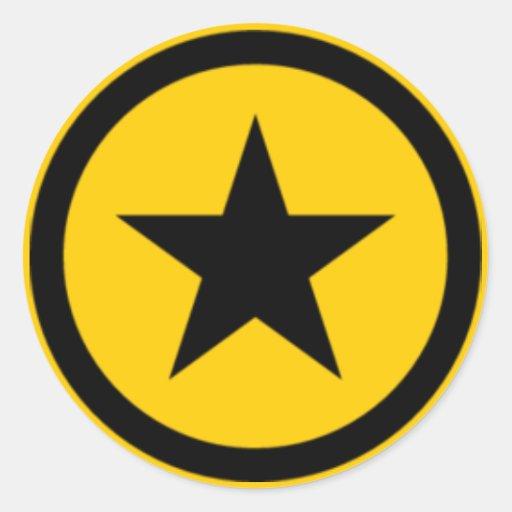 yellow Star Round Sticker