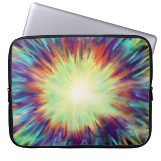 Yellow Starburst on Aqua Blue Indie Art Design Laptop Sleeve