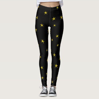 Yellow Starfish Pattern Leggings