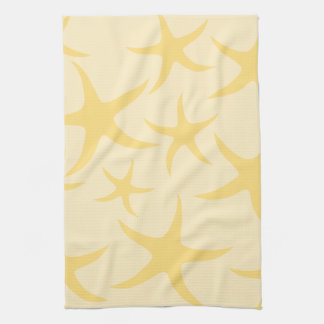 Yellow Starfish Pattern. Tea Towel