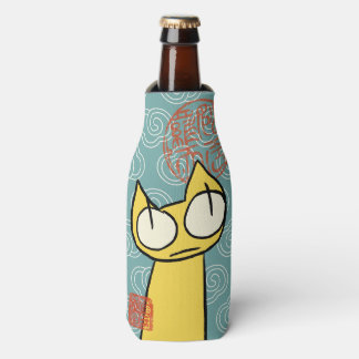 Yellow Staring Cats Bottle Cooler