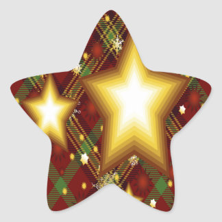 Yellow Stars, Green and Red Background Star Sticker