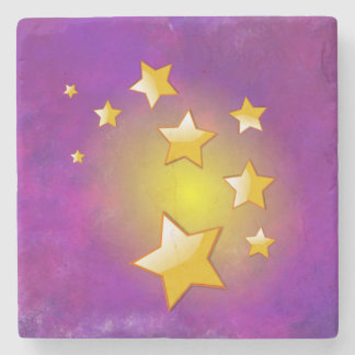Yellow Stars on a purple watercolor background Stone Coaster