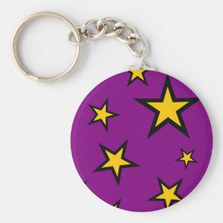 Yellow Stars on Purple Key Chains