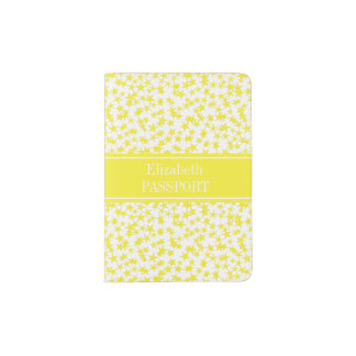 Yellow Stars White BG, Yellow Name Monogram Passport Holder