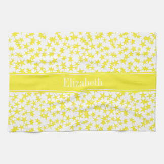 Yellow Stars White BG, Yellow Name Monogram Tea Towel