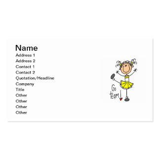 Yellow Stick Figure Cheerleader T-shirts and Gifts Business Cards