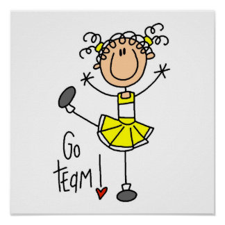 Yellow Stick Figure Cheerleader T-shirts and Gifts Poster