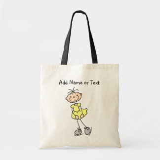 Yellow Stick Figure Girl Ice Skater Customized Bag