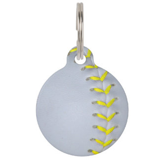 Yellow Stitches Baseball / Softball Pet ID Tag