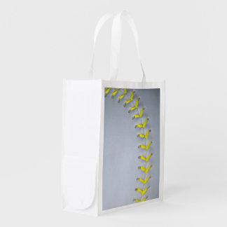 Yellow Stitches Baseball / Softball Reusable Grocery Bag