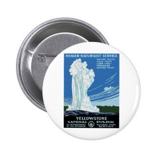 Yellow Stone Park - Old Faithful Geyser 6 Cm Round Badge