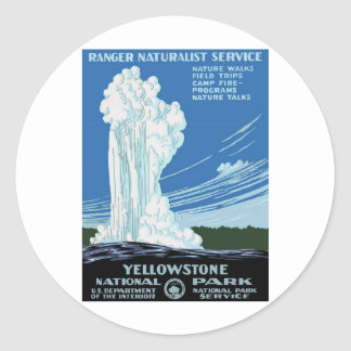 Yellow Stone Park - Old Faithful Geyser Round Sticker