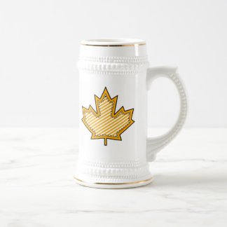Yellow Striped  Applique Stitched Maple Leaf Beer Steins
