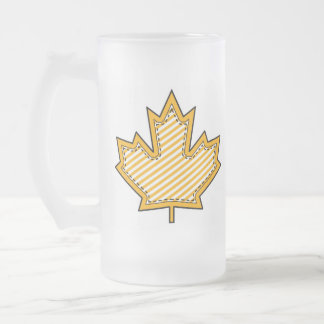 Yellow Striped  Applique Stitched Maple Leaf Frosted Glass Mug