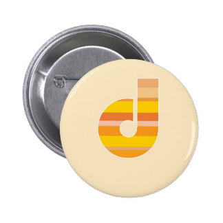 Yellow Striped Monogram - Letter D Button