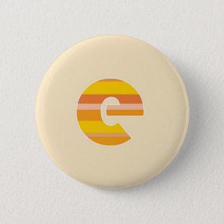 Yellow Striped Monogram - Letter E 6 Cm Round Badge