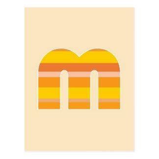 Yellow Striped Monogram - Letter M Postcard