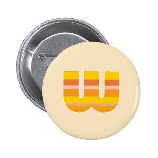 Yellow Striped Monogram - Letter W Pins
