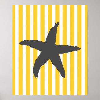 Yellow Striped Nautical Sea Star Poster